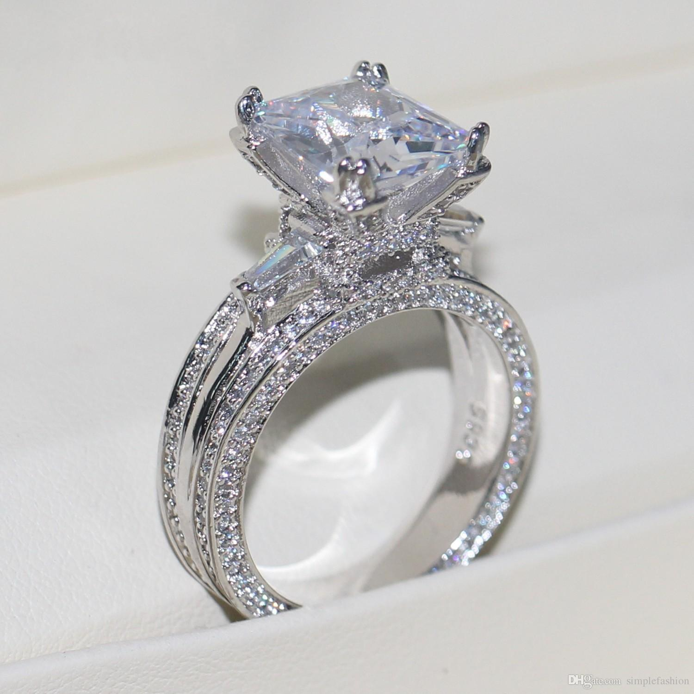 Vecalon Women Big Jewelry ring Princess Cut 10ct Diamond stone Cz 925 Sterling Silver Engagement Wedding Ring Gift