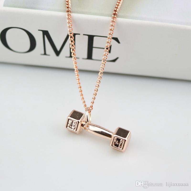 Europe and the United States fashion fitness dumbbell necklace men domineering couple pendant ladies personality barbell accessories jewelry
