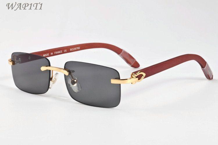 Mens Designer Buffalo Horn Glasses Wood Sunglasses Summer Styles 2019 Fashion Rimless Designer sunglasses for men With Box Eyewear