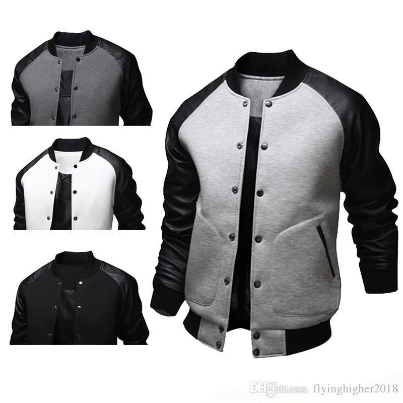Moda para hombre de otoño estilo americano Varsity béisbol Letterman College University chaqueta de abrigo M-XXL envío gratis