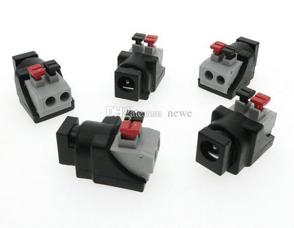 Hot Computer Cables & Connectors DC Male Female connector 2.1*5.5mm DC Power Jack Adapter Plug Connector for single color led strip