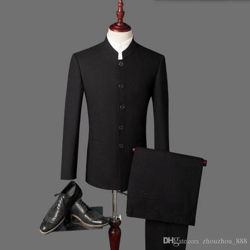 Latest Designs Bruce Lee Style Groom suits Tuxedos black Mandarin collar Men Wedding suits Dinner Suits jacket+pants
