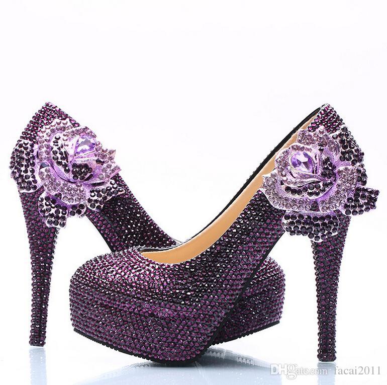 Nouveau gros diamant violet fleur designer chaussures talons hauts chaussures de mariage discothèque bouche peu profonde diamant