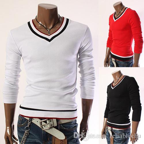 V Neck T Shirt Men Long Sleeve V Neck striped designer fashion casual slim fit for man t shirts