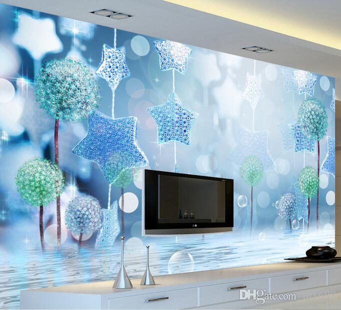 Blue Fantasy Aesthetic Large Scale Murals Wallpaper Living Room