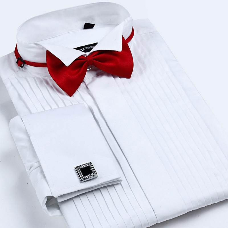 Discount men 39 s french cuff tuxedo shirt solid color wing for French cuff shirts cheap