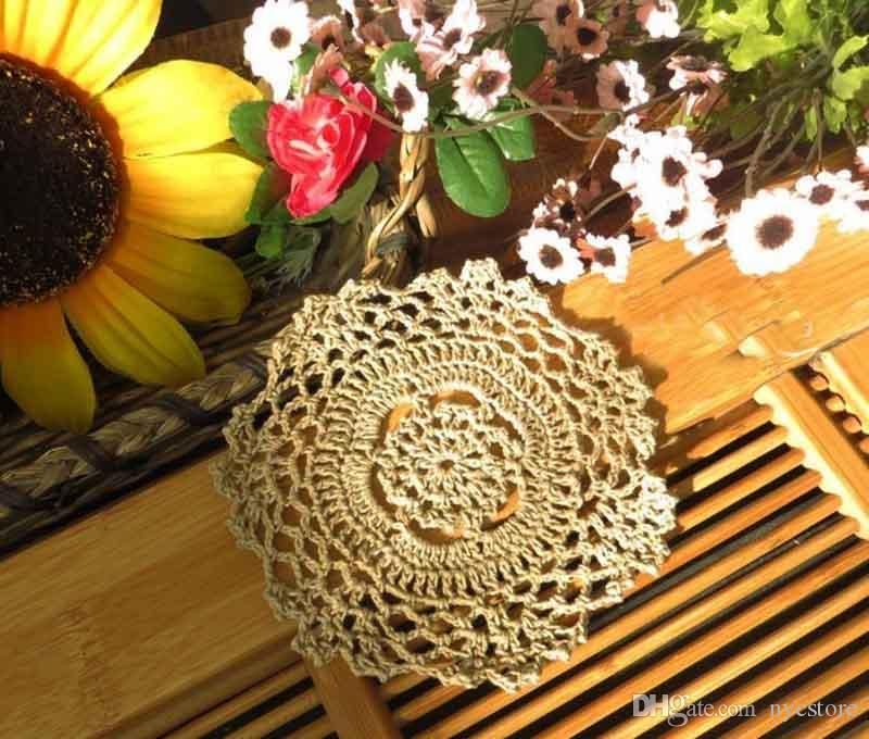 DHL Handmade Crochet Lace Pattern Crocheted Cotton Doilies Cup Pad Mats Table Cloth Coasters Round Dial 14cm Custom Colors