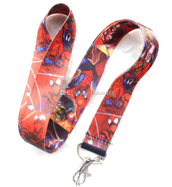 Wholesale Mixed Popular Cartoon Spiderman Mobile phone Lanyard Key Chains Pendant Party Gift Favors 0118