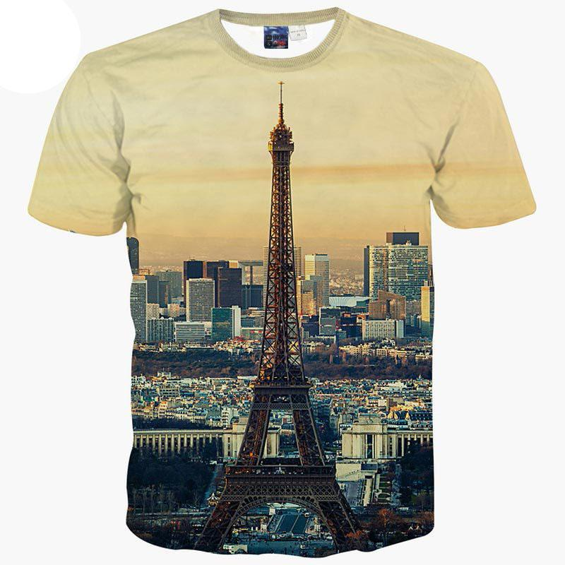 3D T Shirts Europe Fashion T Shirt Men Women 3d T Shirt Summer Tops Tees  Print City Paris Eiffel Towers Short Sleeve Tshirt Shirts Cool Crazy Design  Shirts ... 0adcc33f4f