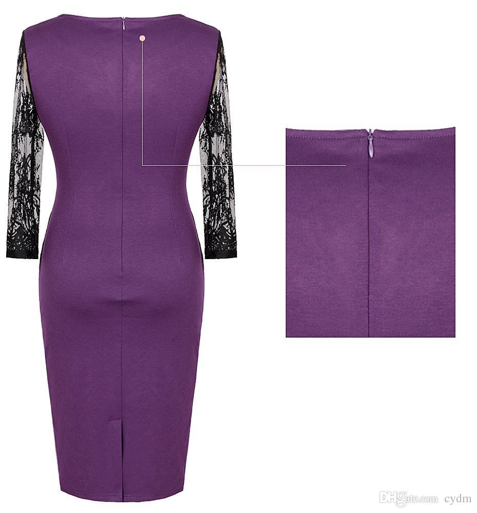 Tempérament élégant couleur unie col sept manches robe en dentelle mince jupe crayon rouge, violet, vert support mixte