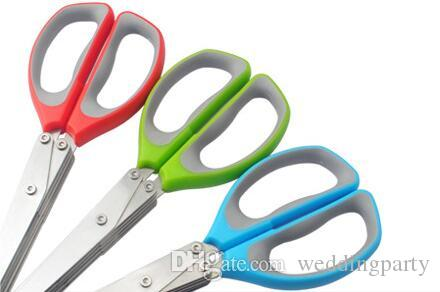 Multi-functional Stainless Steel Kitchen Knives 5 Layers Scissors Shredded Scallion Cut Herb Spices Scissors Cooking Tools