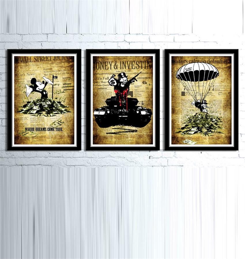 Alec Monopoly Banksy Inspired,3 Pieces Home Decor HD Printed Modern Art Painting on Canvas (Unframed/Framed)
