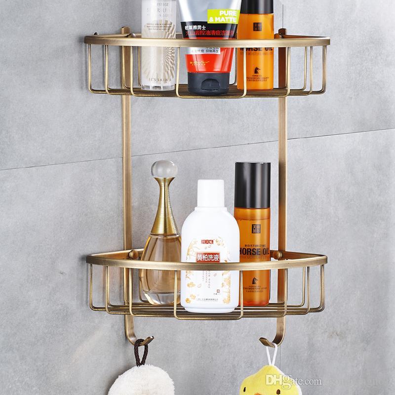 Modern Antique BrassShower Shelf Shampoo Holder Bathroom Corner Rack ...