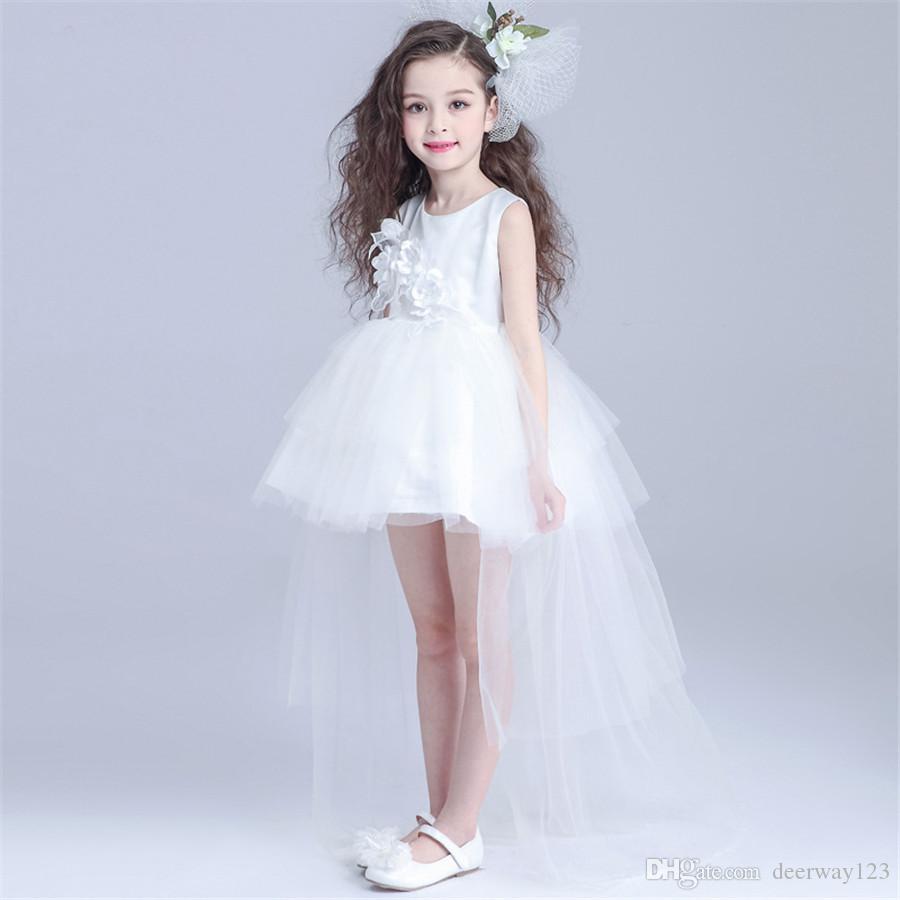 De Princesse Longue Traîne Soirée Blanche 12 Fille Robes Ans Robe Haute 3 Fleur Mariée Pour Blanc Qualité ED9IHW2