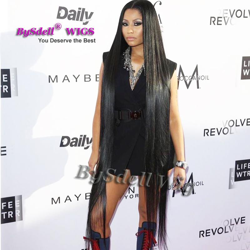Célébrité Nicki Minaj Super longue perruque synthétique noir 32 pouces / 52 pouces / 70 pouces taille / pieds longueur soie droite cheveux perruque pleine perruque de cuir chevelu