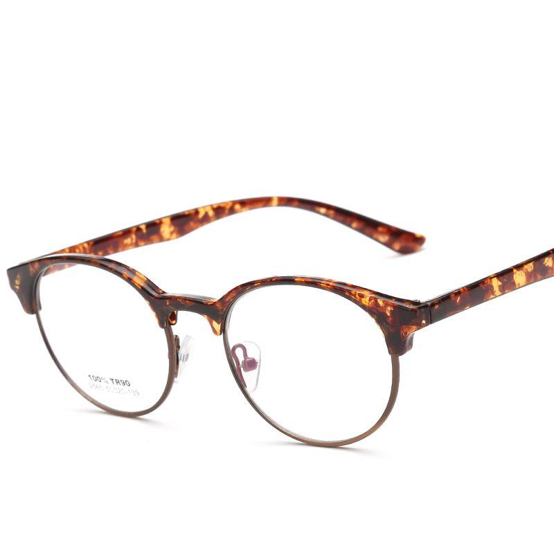571b151979c 2018 Wholesale Retro Tr90 Round Glasses Frames Clear Lens Optical Glasses  Black Leopard Light Eyeglasses Vintage Spectacle Frames Women Men From  Value333