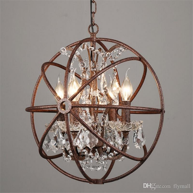 Country Quincaillerie Vintage Orb Lustre en Cristal Eclairage RH Rustic Fer Bougie Chandeliers Lumière Globe LED Lustre Décoration