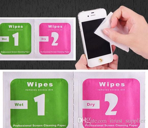 Dry Wipes+Wet Wipes+Dust Absorber Sticker Cleaning Cloth For Tempered Glass Screen Protector Tablet Camera LCD hot
