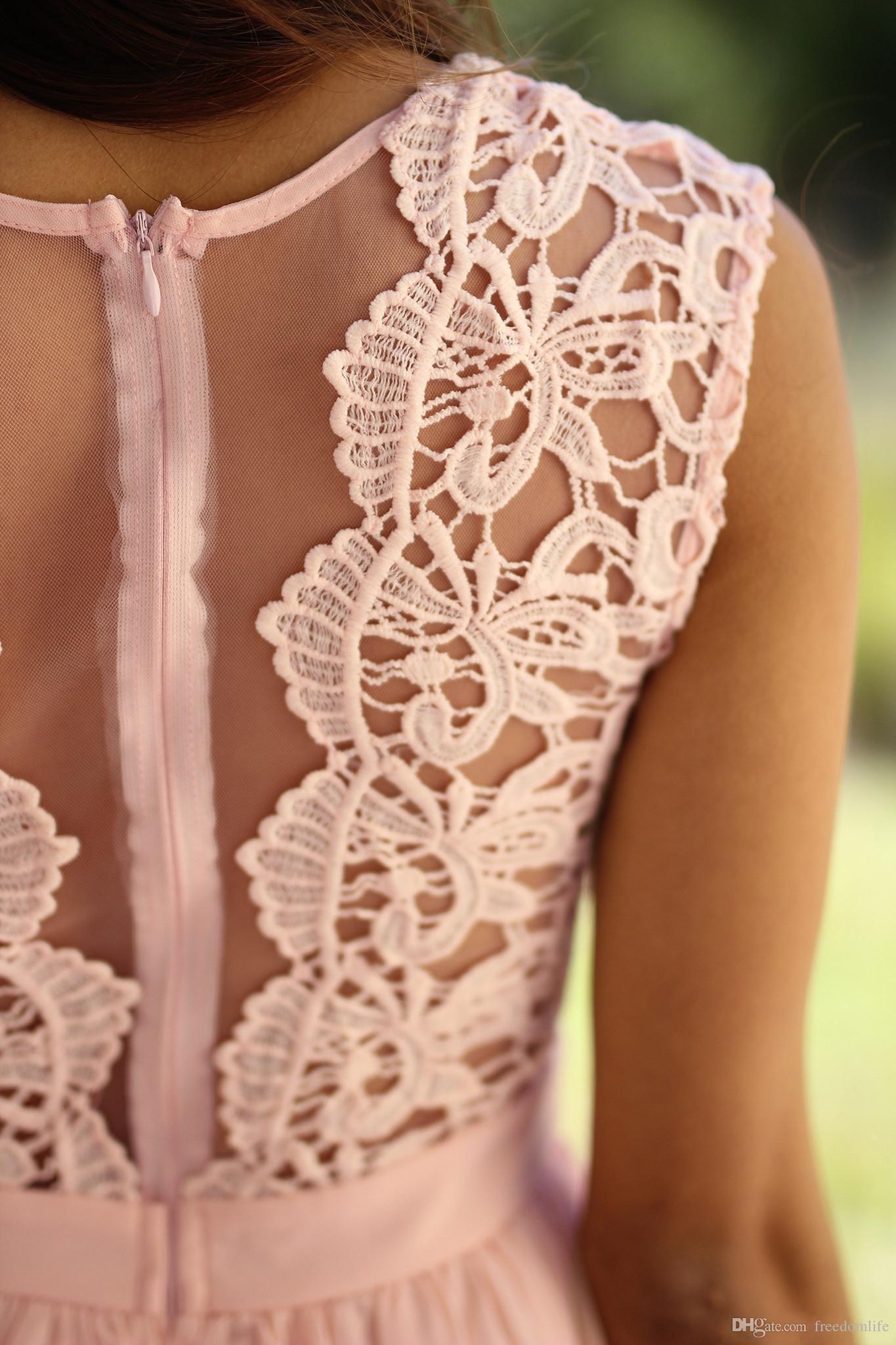 Elegant Lace Coral Bridesmaid Dresses Jewel Sleeveless Wedding Guest Dress Zipper Chiffon Cheap bridesmaids dress Formal Maid of Honor Gown