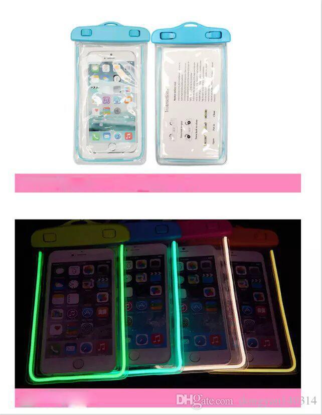Novo para iphone 7 7 plus universal à prova d 'água case pouch bag luminosa capa protetora case com cordão para sumsung galaxy s8 s7 edge