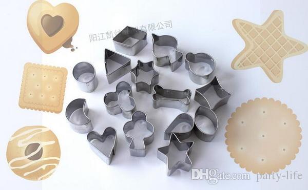 100 jogos / lote, 15 pçs / set Embalagens De Cartão Em Miniatura De Aço Inoxidável Biscoitos Mold Bolo Arroz Moldado