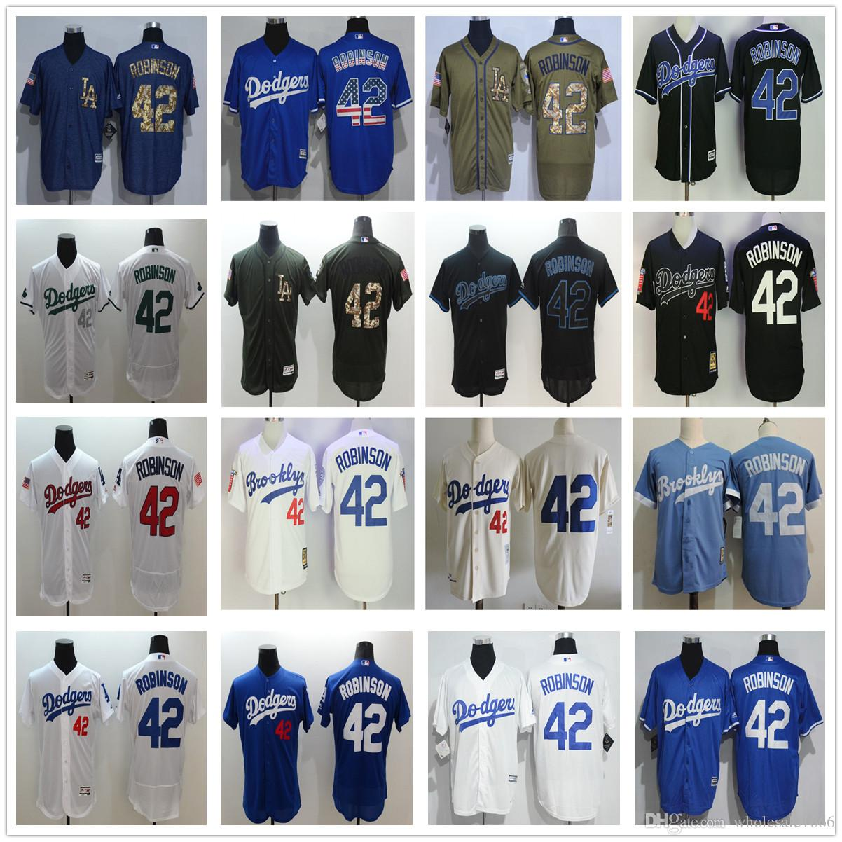 52eb59ff ... Jersey 2017 L.A. Los Angeles Dodgers 42 Jackie Robinson MenS Stitched  White Blue Black Flexbase Coolbase Throwback ...