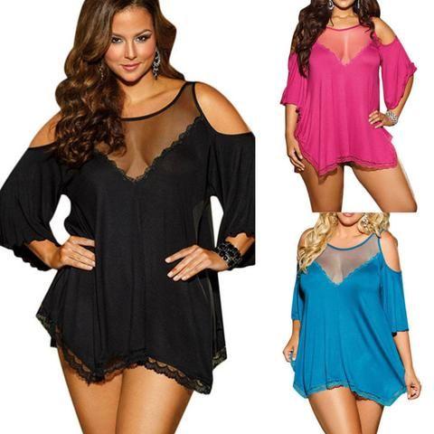 Sexy Dessous Plus Size Durchsichtig Mesh Satin Nachtkleid Nachthemden Frauen Nachtwäsche, lässt Sie sich sexy und selbstbewusst fühlen.