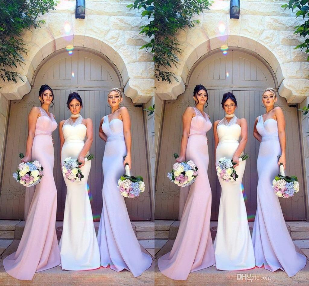 Modest mermaid bridesmaid dresses blush pink white formal maid of modest mermaid bridesmaid dresses blush pink white formal maid of honor gowns custom made slim satin wedding guest party dress 2018 violet bridesmaid ombrellifo Images