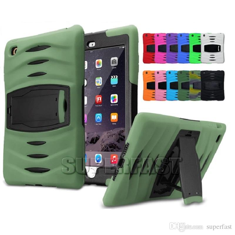 the latest 7b8a5 67e38 Tablet Defender Case For iPad Mini 4 Armor Hybrid Bumper Kickstand Case  Rugged Protective Case For Galaxy Tab with OPP Package