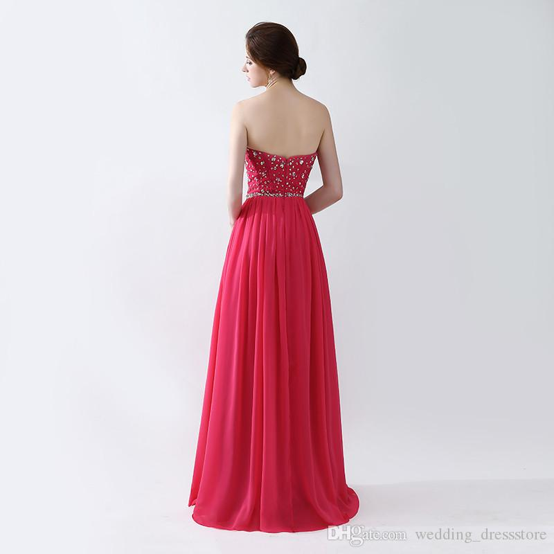 2018 Evening Gowns New Arrivals vestidos de noiva Crystal beading Side Split Prom Dresses
