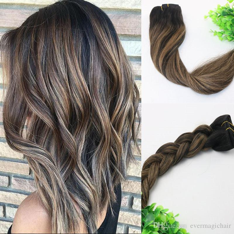 8a 120gram Clip In Human Hair Extensions Balayage Ombre Dark Brown