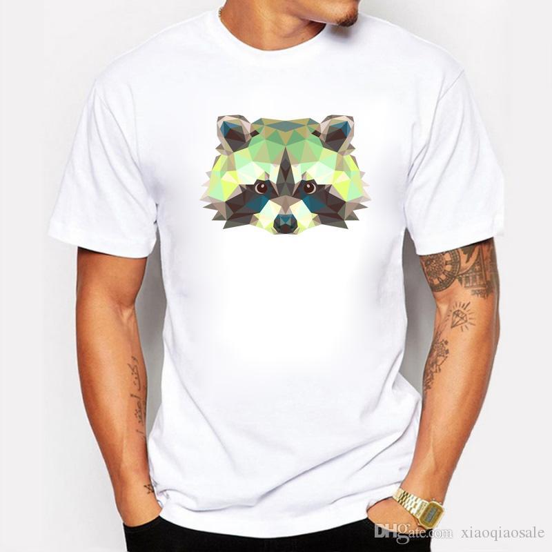 Mapache O-cuello de manga corta de algodón hombres camiseta Moda pero lindo Anime 3D Diseño de mapache camiseta para niño / hombre Tops