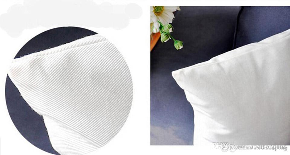 Tüm Boyutları özel için gizli zip / DIY baskı boş 200gsm pamuk yastık kılıfı ile düz beyaz / doğal saf pamuk dimi yastık kılıfı