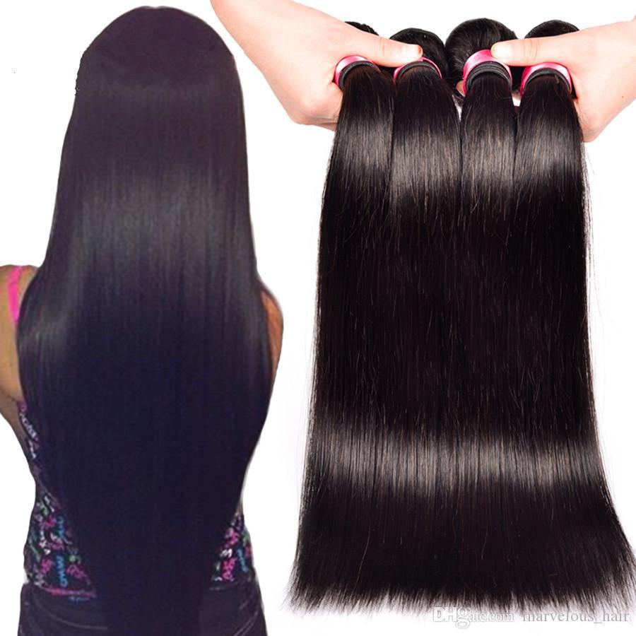 Human Hair Weaves Wonder Girl Straight Hair Bundles 100% Human Hair Can Be Dyed Peruvian Hair Bundles No Shedding Remy Hair Extension