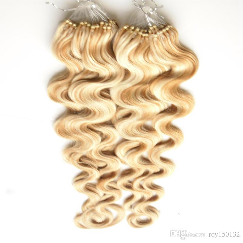 P27 / 613 Couleur Corps Vague Droite Brésilienne micro boucle extensions de cheveux humains 200g Brésilienne Vierge Cheveux Micro Perle Remy Cheveux