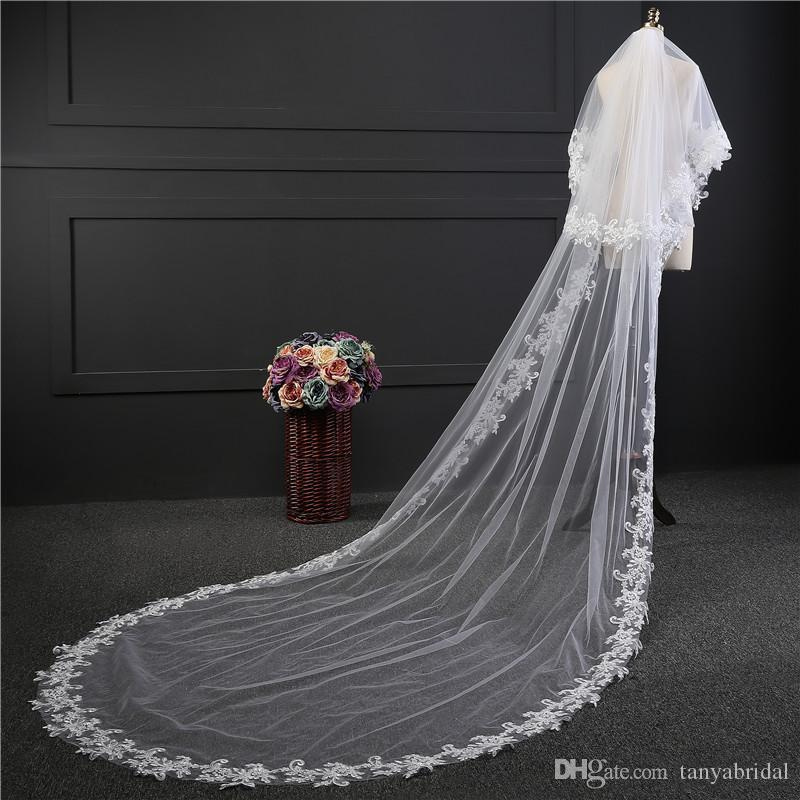 3 meters Long Lace Wedding Veils White Veil In Stock Ivory Wedding Bridal Veil One Layer Cheap