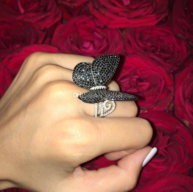 Renk taş düğün takı ile hareketli kanatlı hareketli kelebek halkalı gümüş 925 kelebek yüzük