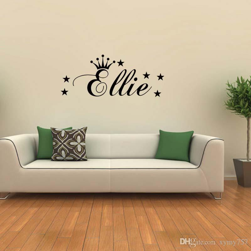 For Personalised Princess Crown Wall Cute Sticker Removable Wall Funny Art Vinyl Decals Graphics Decor Diy