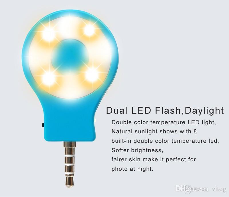 Universal recargable 8 LED Flash Light Up Selfie Mini Selfie Sync teléfono con cámara Linterna para iphone 6 7 plus samsung s8 s8 plus