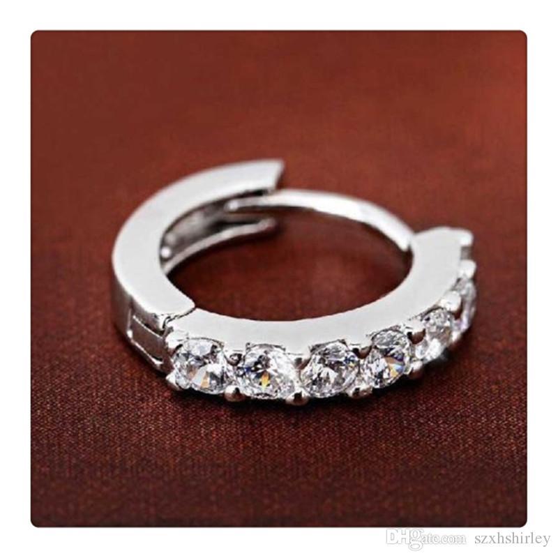 Bijoux de mode 925 Sterling Argent Strass Hoop Diamant Boucles D'oreilles pour les Femmes es Belles Boucles D'oreilles Cadeau Livraison Gratuite