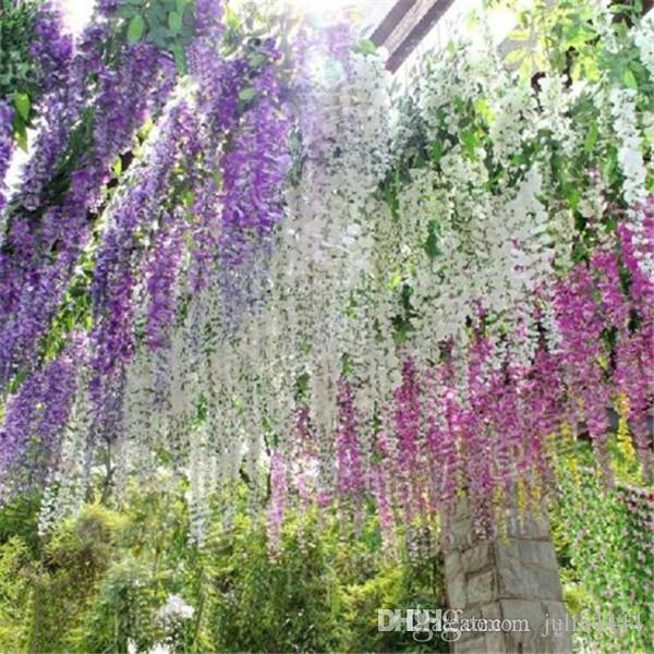 wisteria Wedding Ideas Elegant Artifical Silk Flower Wisteria Vine Wedding Decorations 3forks piece more quantity more beautiful