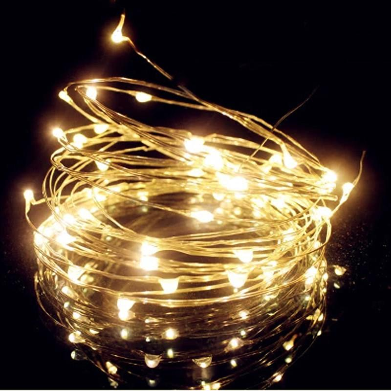 wholesale hot 33ft 10m 100 led 45v mini battery operated silver led string light fairy lights garlands christmas holiday wedding party color changing led