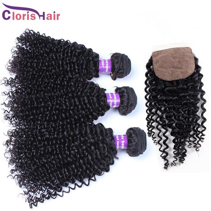 Full Head 4pcs curly Hair Extensions With Closure Unprocessed Brazilian Kinky Curly Silk Base Closure With Human Hair Weave Bundles
