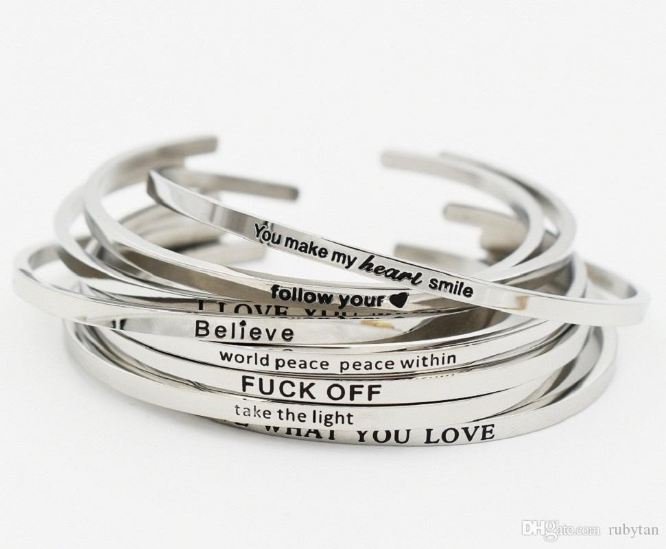 Delicate Silver Cuff Bangle THINK HAPPY Stamped Bracelet Titanium Steel Inspirational Bangle for Women Gift