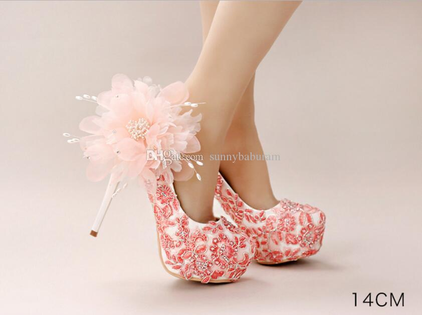 Peach Lace Cinderella Shoes Beaded Flower Bridal Bridesmaid Wedding Shoes 2017 Prom Evening Night Club Party High Heels Hand-made