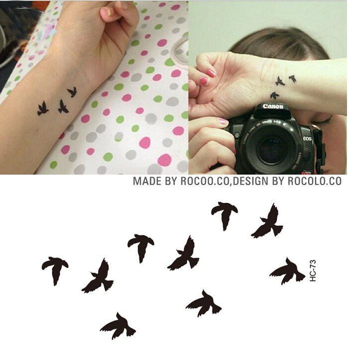 Women Sexy Finger Wrist Flash Fake Tattoo Stickers Liberty Small