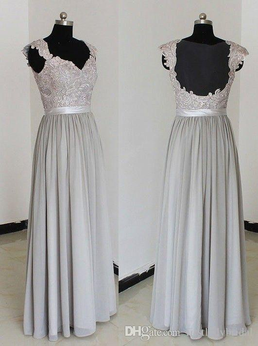 Fat bridesmaid dresses 2017 silver gray chiffon and lace for Gray lace wedding dress
