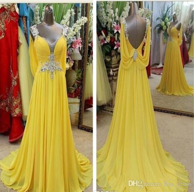 c01f4558486 Evening Dresses Yellow Long Prom Dresses Formal 100% Sample V Neck Backless Sweep  Train Crystal Junoesque Chiffon Evening Gown Spring Bridesmaid Dresses ...