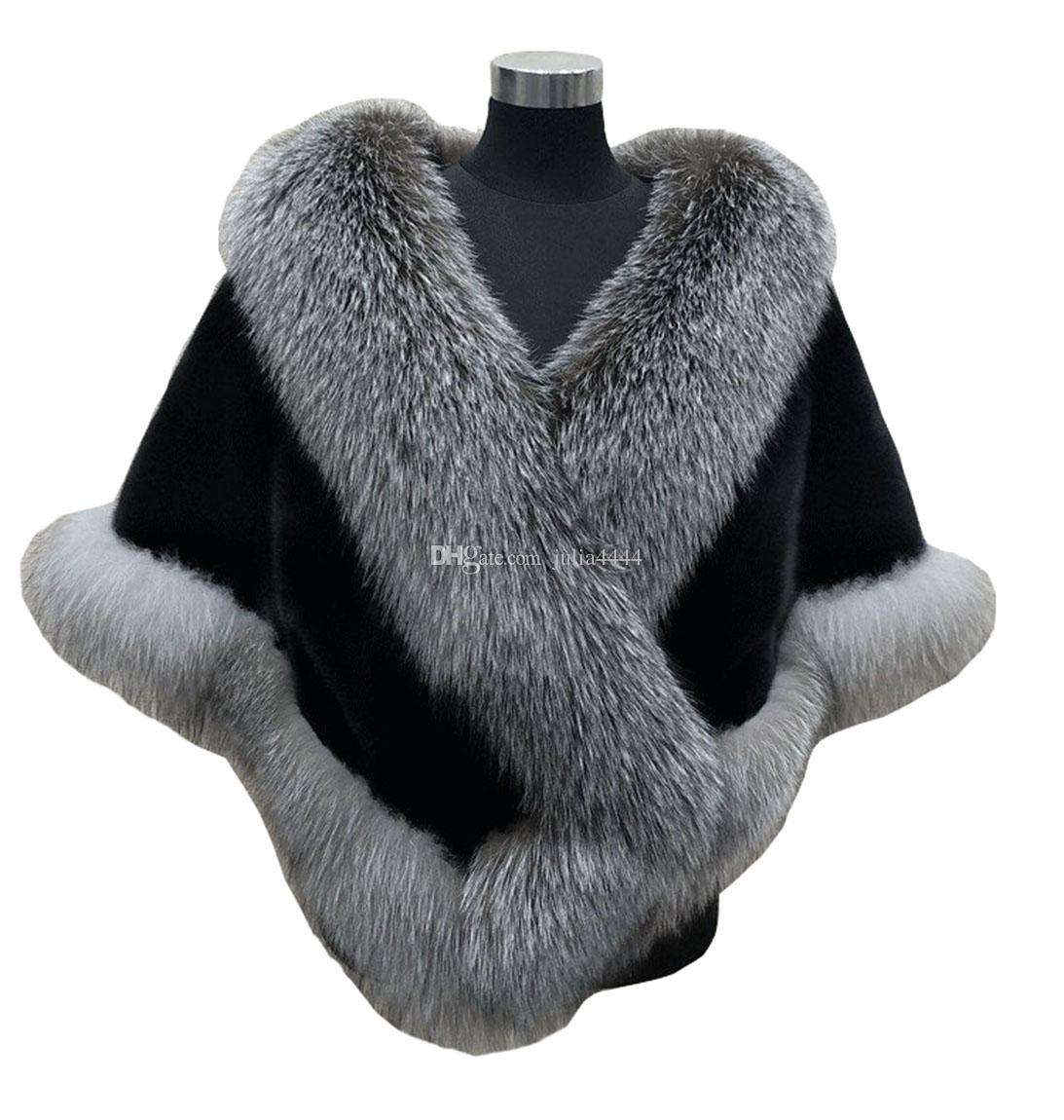 Autumn winter 2018 newest long fox faux fur bridal Wraps evening dress shawl cloak scarf female Party Cocktail Keep Warm