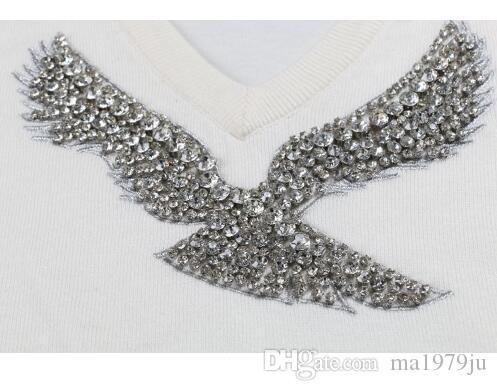 ربيع جديد أزياء المرأة البلوزات كم كاملة الخامس الرقبة مطرز بلوفرات النسر الماس الكمبيوتر محبوك مهرجان